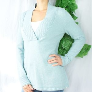 Sweaters - Eddie Bauer Robin Egg Blue V Neck Tunic Sweater M